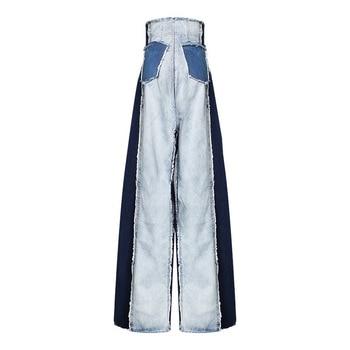 [DEAT] 2019 New Autumn Winter High Waist Loose Hit Color Denim Pocket Blue Long Wide Leg Jeans Women Trousers Fashion Tide JR84 1