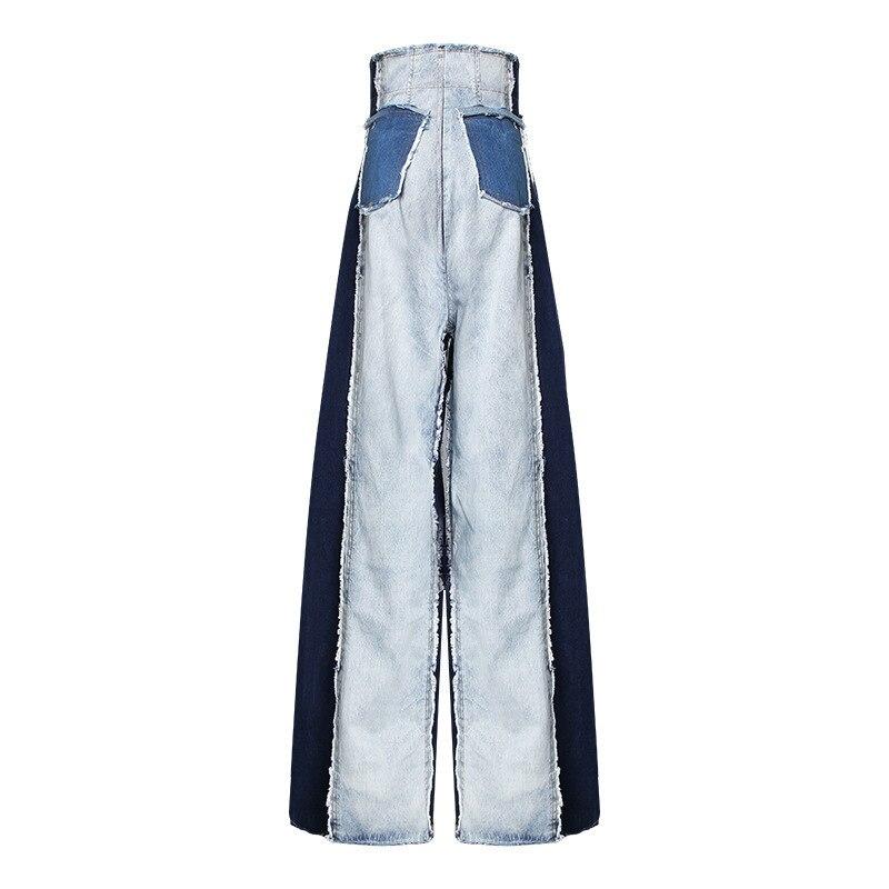 [DEAT] 2019 New Autumn Winter High Waist Loose Hit Color Denim Pocket Blue Long Wide Leg Jeans Women Trousers Fashion Tide JR84-in Jeans from Women's Clothing    2