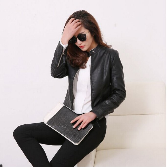 Women Pu   Leather   Jacket O-Neck Faux   Leather   Biker Jacket Soft Female Jacket Women Fashion Black Motorcycle Coat
