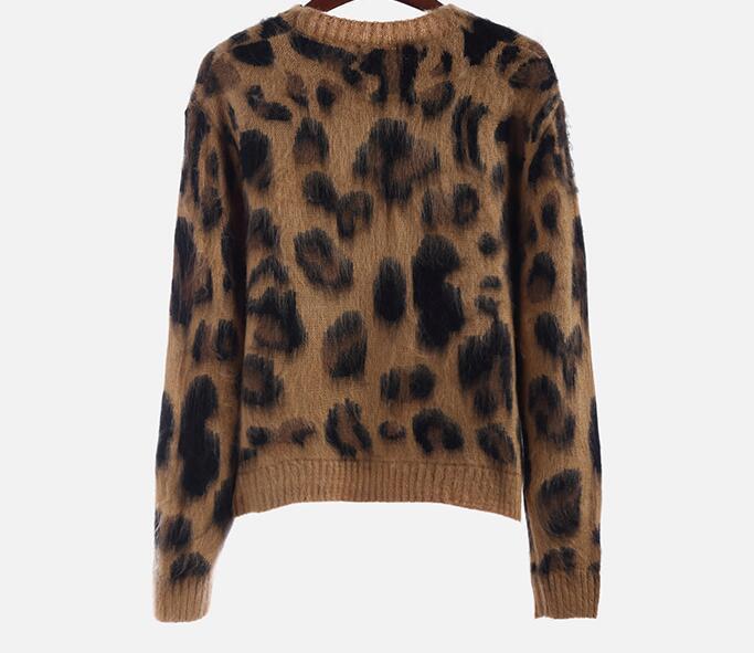 Leopard Print Cashmere Sweater Women Pullover 3