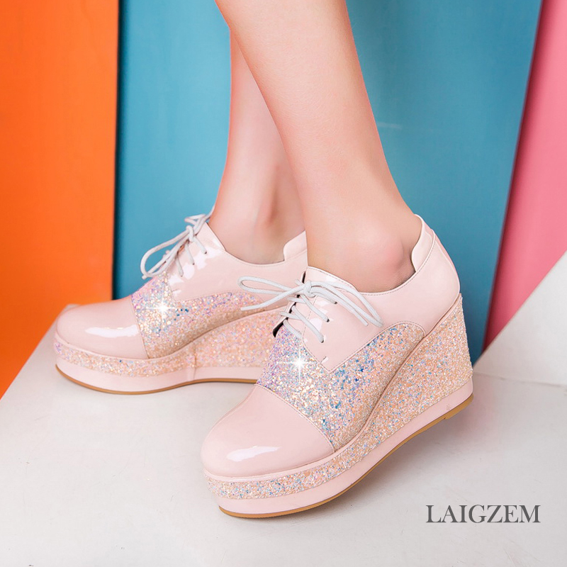 LAIGZEM SUPER Women Sneakers Round Toe Bling Sequined Platform Wedge Heels Casual Shoes Thick Bottom Woman Small Big Size 33-48