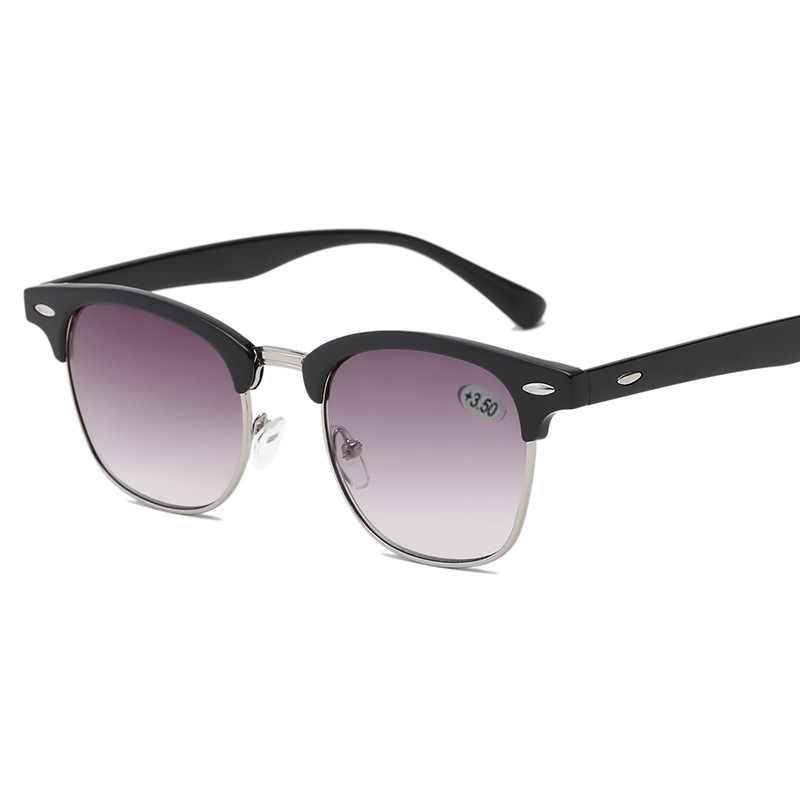 Oulylan อ่านครึ่งกรอบแว่นตากันแดดผู้หญิงผู้ชาย VINTAGE คิ้ว Unisex Prescription แว่นตากันแดด Diopter + 1.0 1.5 2.0 2.5 3.0 3.5