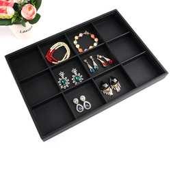Черная мягкая бархатная шкатулка для украшений элегантная серьга коробка для украшений свадебный подарок Браслет Дисплей Лоток Чехол