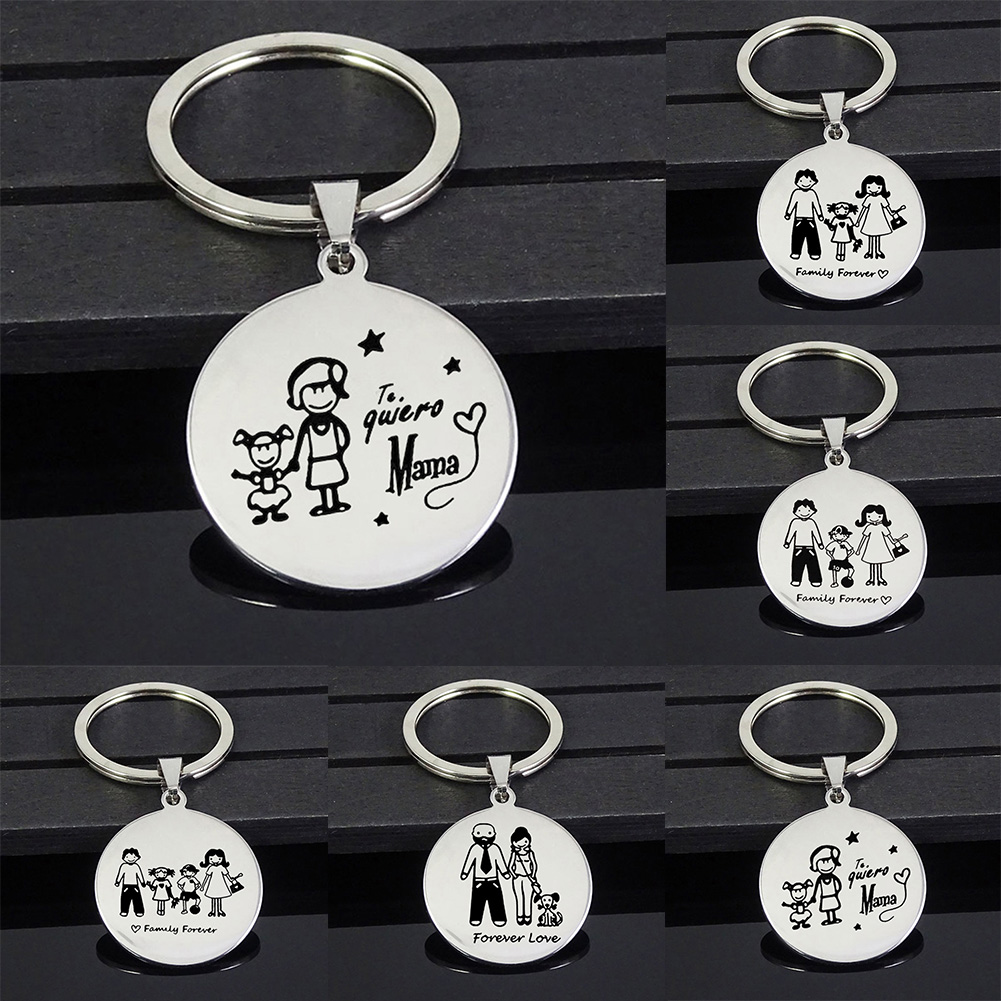 Family Mom Dad Daughter Son Pet Keychain Teacher's Day Gift Stainless Steel Best Teacher Keyring Mother Father Kids Key Chain
