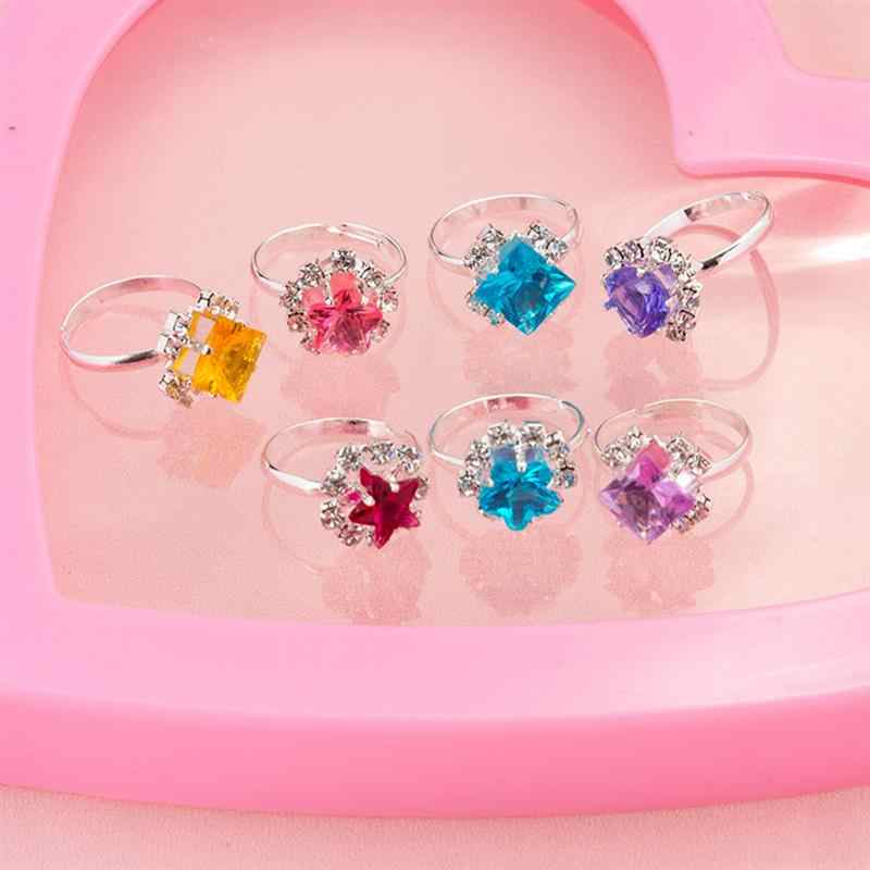 36pcs Children Toys Rings Creative Diamond Pretend Play Mixed Pattern Princess Box Accessory Rings for Girls Dress Up Kids
