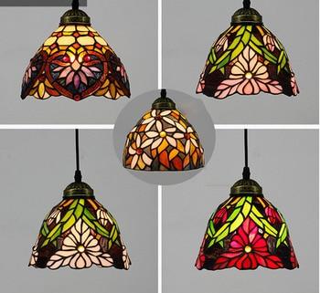 Modern Nordic Single Mosaic Pendant Lights Stained Glass Flower Lampshade Hanglamp Bedroom Living Room E27 Bulb Lighting