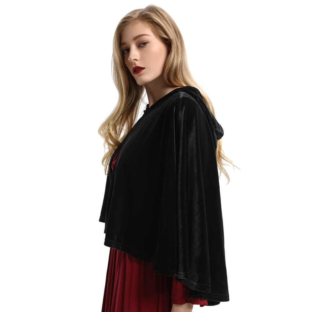 Vittoriano di Vino Nero di Velluto cappotti del randello del partito di stile gotico medievale punk hip Metà Del Capo Mantello Capelet Steampunk Dickens Cosplay