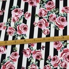 Новинка года; полосатая хлопковая ткань с розами и бабочками для летнего платья; telas por metros tissu vestidos tela