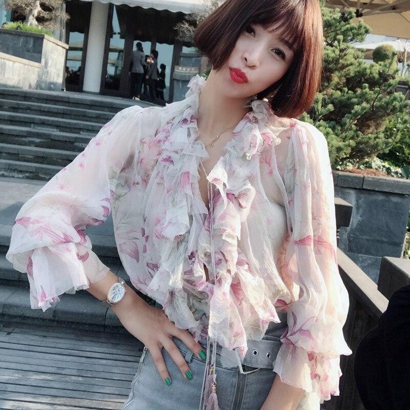 Mujer Camisa V Cuello Con Falbala En Manga 100 Rosa De Sakura Y Floral Estampado Mariposa Volantes Para prZwpq