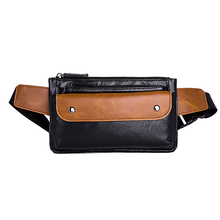 Casual Leather Men Chest Bag Multi Zipper Pocket Fanny Pack Contrast Phone Sling Bags Single Strap Money Wallet Waist Packs Male