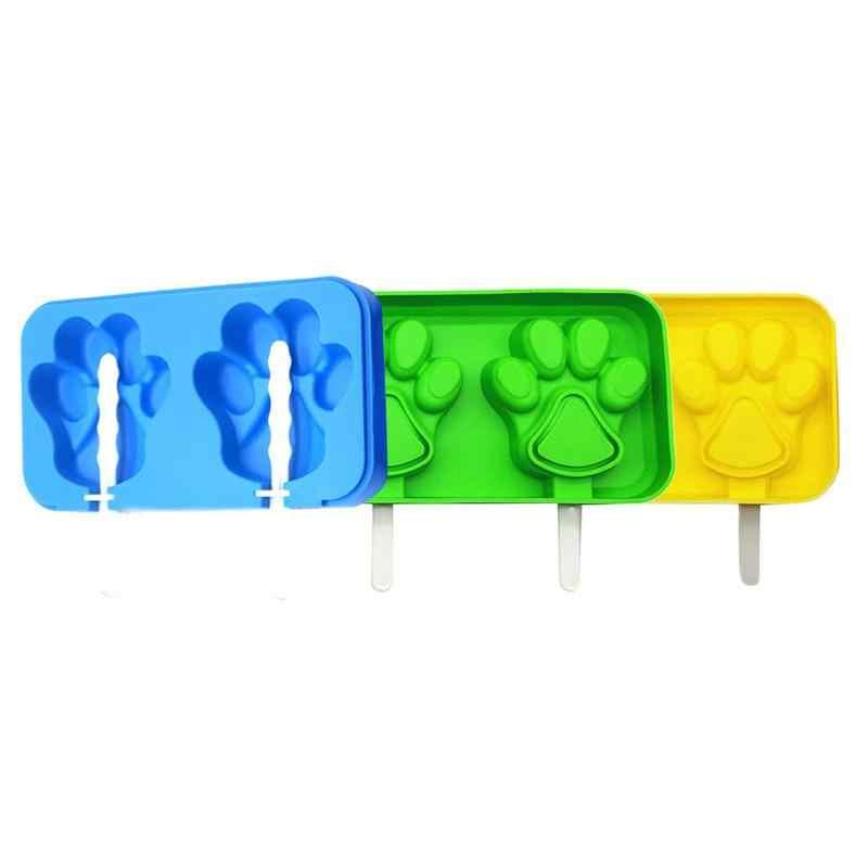 Silicone Mèo Dấu Chân Phong Cách 2 lưới Popsicle Popsicle Khuôn Với bìa