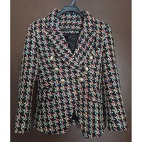 New Runway Women Double Breasted Houndstooth Tweed Blazers Plaid Autumn Lady Lapel Long Sleeve Coats