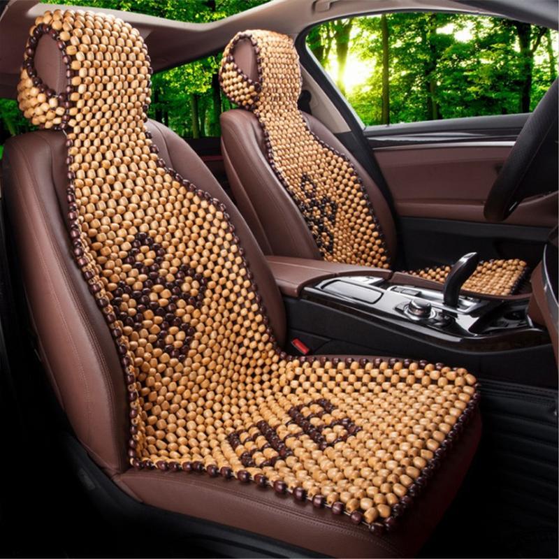 Couverture de siège de voiture d'été Cool bois perle en bois housse de siège Massage Auto voiture coussin chaise couverture siège protecteur