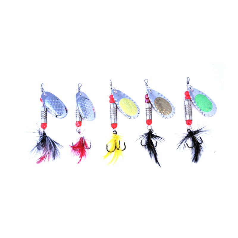 Image 5 - OLOEY 5 7g Fishing Spoon Lures Metal Sliver Bait Spinners SpoonFishing Lure Hard Bait Sequins with Feather Bass Treble-in Fishing Lures from Sports & Entertainment