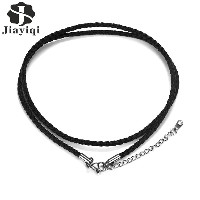 Jiayiqi PU Necklace Stainless Steel Black Chain Link Female Male Jewelry Accessories 50cm 55cm Lobster Buckle