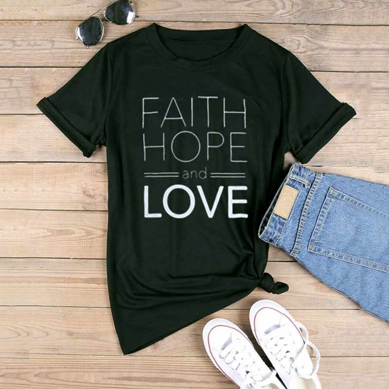 FAITH HOPE and LOVE T-shirt Solid Color Christian Slogan Bible Church Tees Pray Jesus Slogan T Shirt Women Aesthetic Shirt  Tops