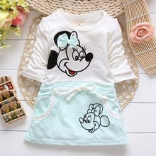 2018 New Fashion Length Cute Cartoon Summer Minnie Baby Girl Is Suitable For Baby's Round Collar 100% Dress.