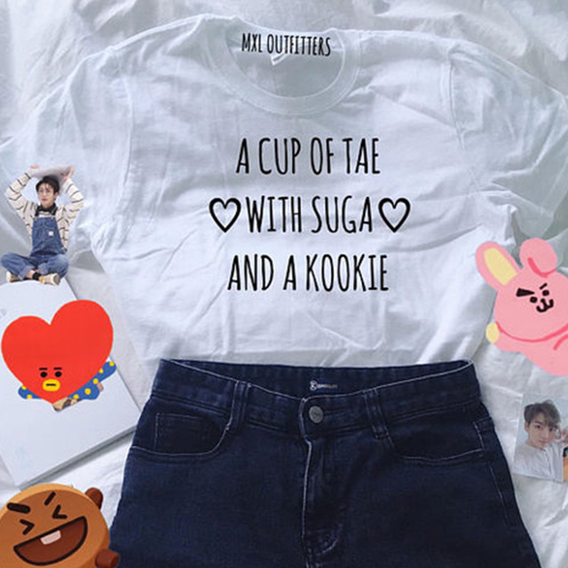 A CUP OF TAE WITH SUGA AND A KOOKIE T-SHIRT