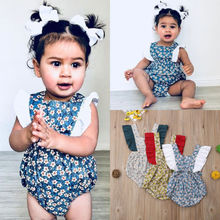 Baby Girl Floral Ruffle Sleeveless Romper Jumpsuit for Newborn Infant Children Clothes Kid Clothing