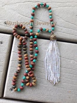 c322d373cd54 Shabby BoHo Boho Glam Knoting Roundell Casso Jaspers pequeña de cristal borla  collar de perlas