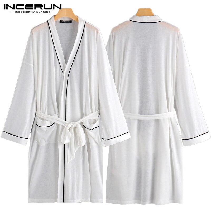 Comfortable Kimono Dressing Men Robe Gown Long Sleeve Male Bathrobes Night Gown Home Clothes Long Bathrobe Thin Sleepwear Hombre