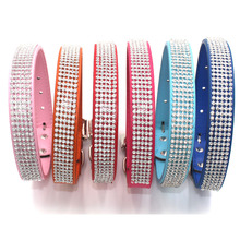 Bling Diamante Rhinestone PU Leather Cat Dog Collars for Small Medium Dogs Chihuahua Yorkie 6 Colors Size S M L  XL