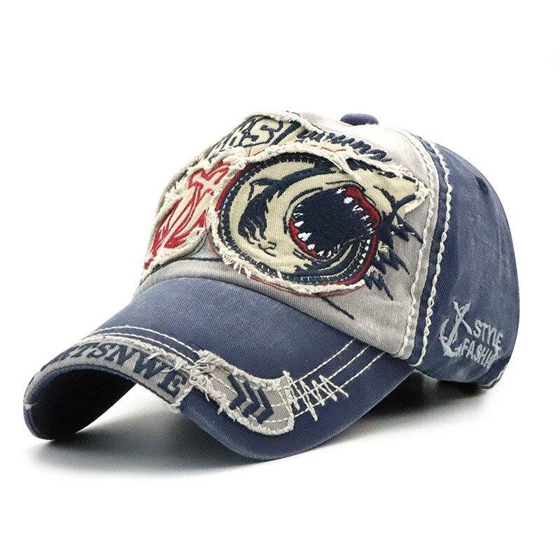 Nuevo patrón amantes lavar gorra de béisbol hombres y mujeres tendencia tiburón personalidad europea Peaked gorra primavera y otoño sombrero del sol ¿