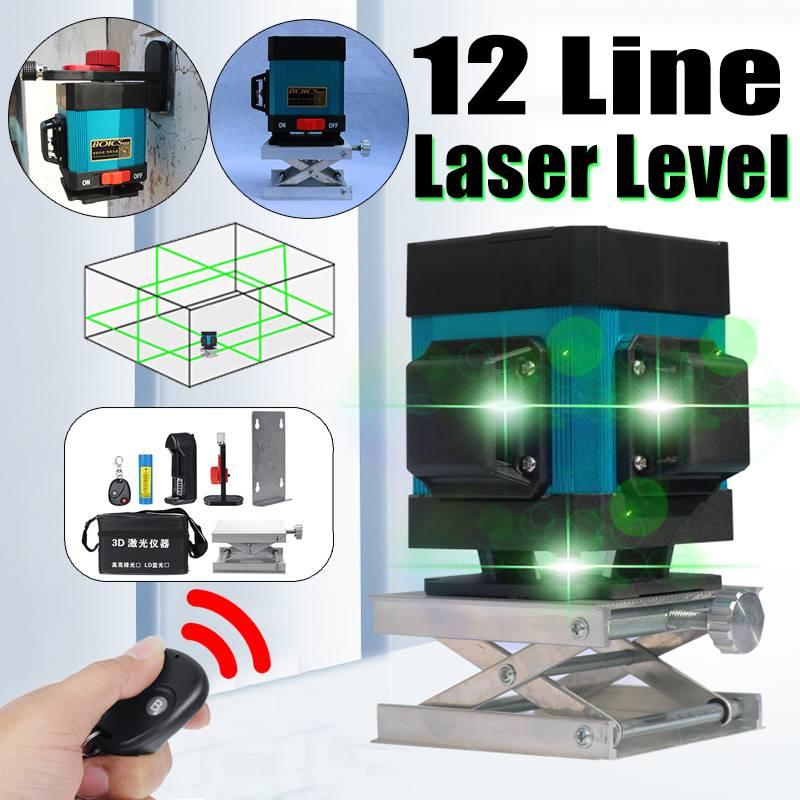 12 Lines Blue Cross Line Laser Level 505nm 3D 360 Degree Rotation Auto Leveling Horizontal Vertical