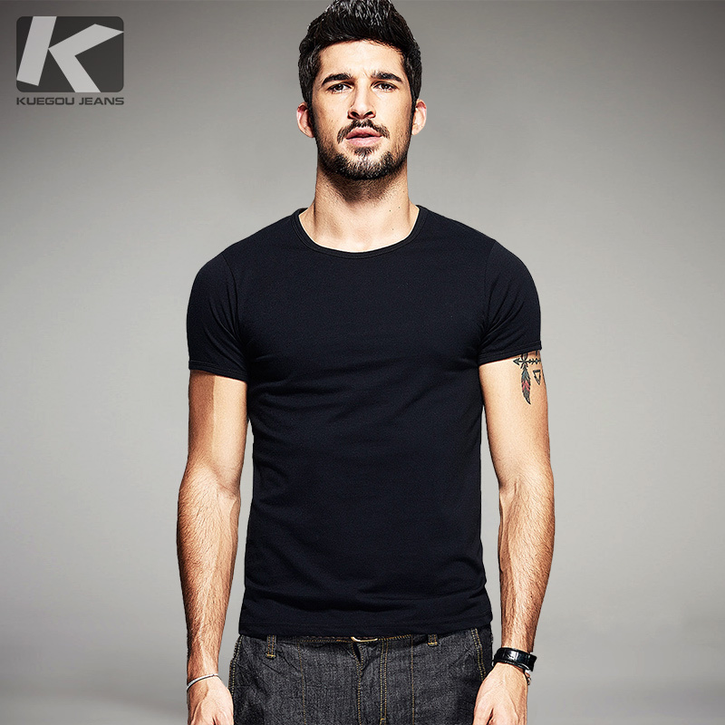 KUEGOU 2019 Summer Cotton Plain White   T     Shirt   Men Tshirt Brand   T  -  shirt   Short Sleeve Tee   Shirt   Fashion Clothes Plus Size Top 601