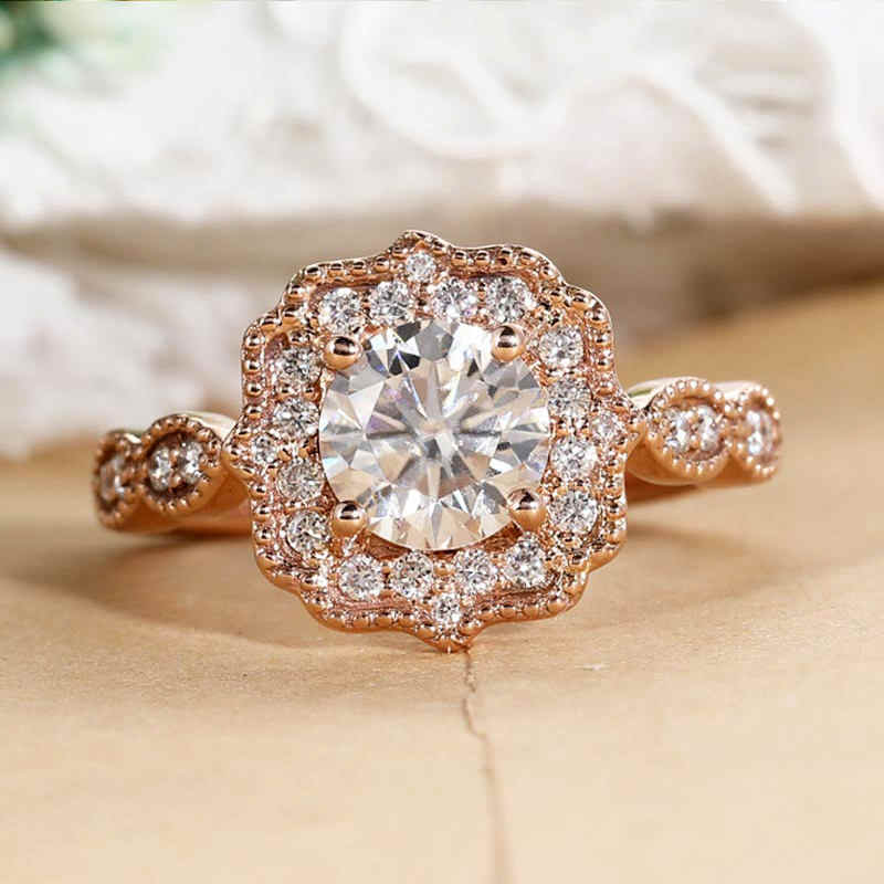 Vintage Engagement Ring Rose Gold Art Deco Ring Zircon Wedding
