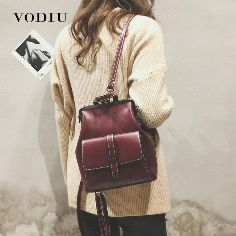 School Backpack For Women Backpack Leather Small Mochila Feminina Vintage Crossbody Bag Female Mini School Rucksack Sac A Dos