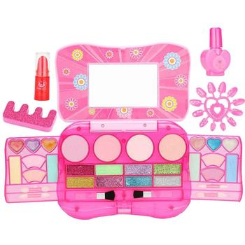 Pink Children Princess Makeup Set Kids Cosmetics Kit Eyeshadow Lip Gloss Blushes Pretend Play Girls Beauty Toys Gifts Favor фото