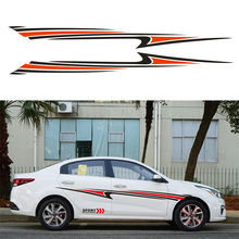 1 Pair 260*25CM Stream-line Sport car stickers Vinyl Graphic Car Body Sticker Side Decal Stripe(Black+Red color) гарнитура motorola stream sport red