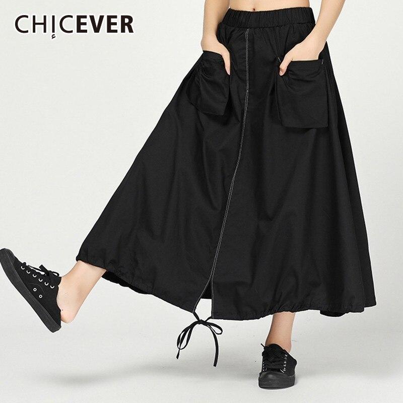 CHICEVER Summer Women s Skirts Female Elastic High Waist Hem Bow Drawstring Long Skirt For Women