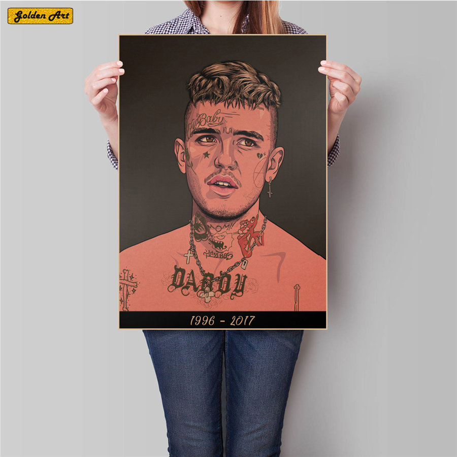 Rapper Lil Peep Vintage Kraft Paper Poster Retro Print Painting Bar Cafe Decoration Wall Sticker For Living Room 45.5x31.5cm