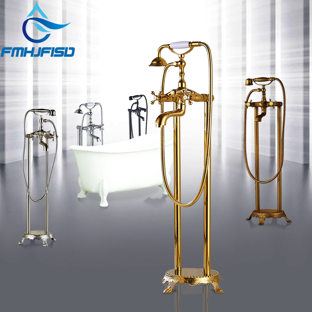 Golden Polished Bathtub Floor Stand Faucet Mixer Dual Hnadle 360 Rotation Waterfall Spout Bath Tub Faucet