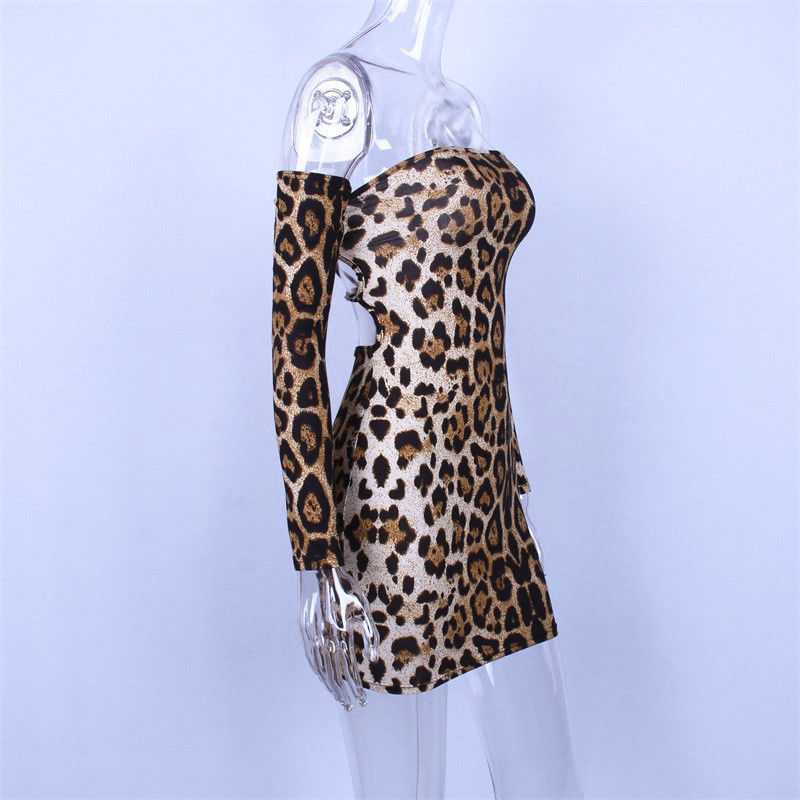 NEW Sexy Women Off Shoulder Leopard Print Dress Lady Sheath Long Sleeve  Mini Short Dress-in Dresses from Women s Clothing on Aliexpress.com  1a4062e1d