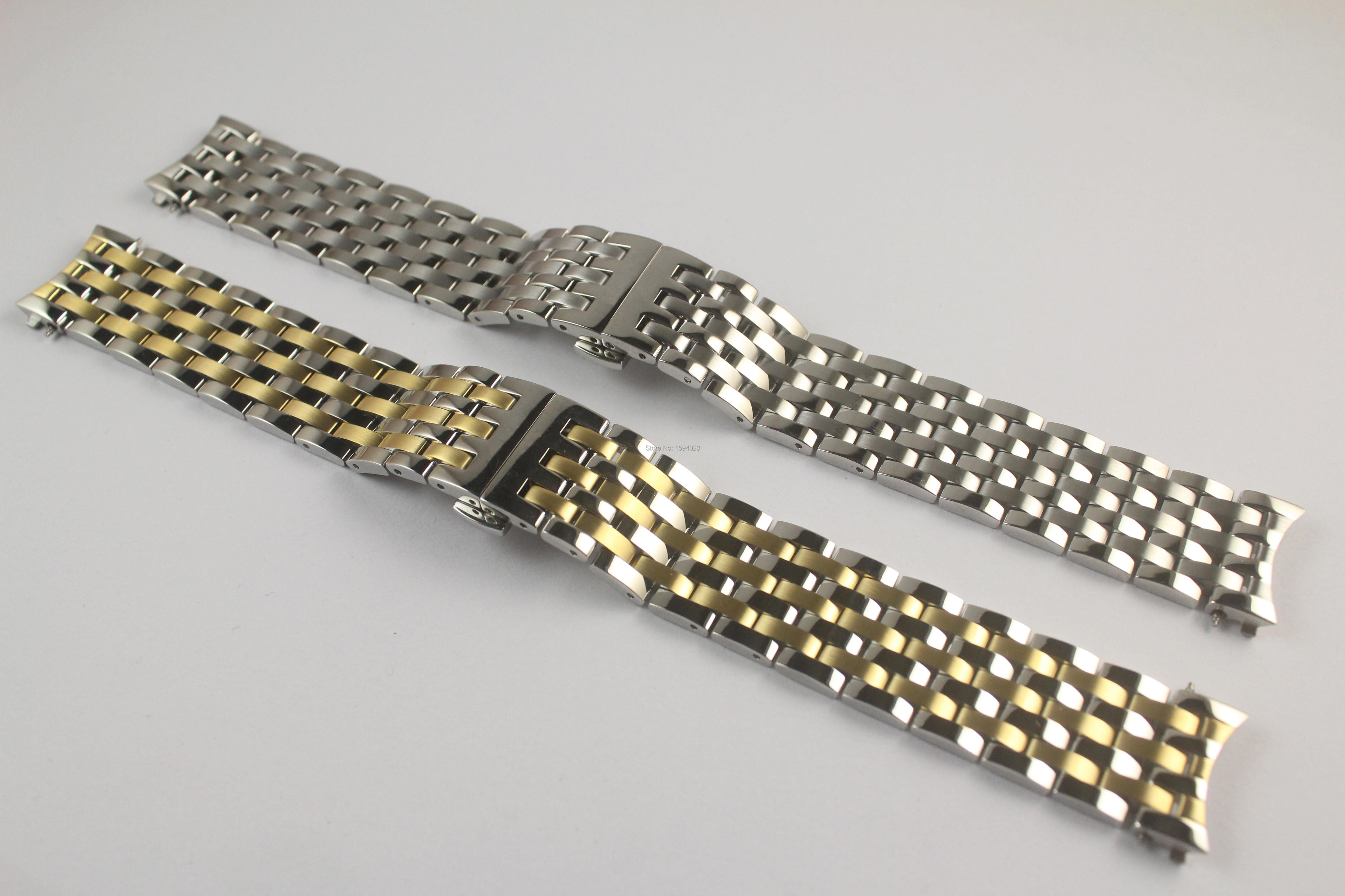 20mm T097407 New Watch Parts Male Solid Stainless steel Gold plating bracelet strap T097 WatchBands For T097407A-in Watchbands from Watches    1
