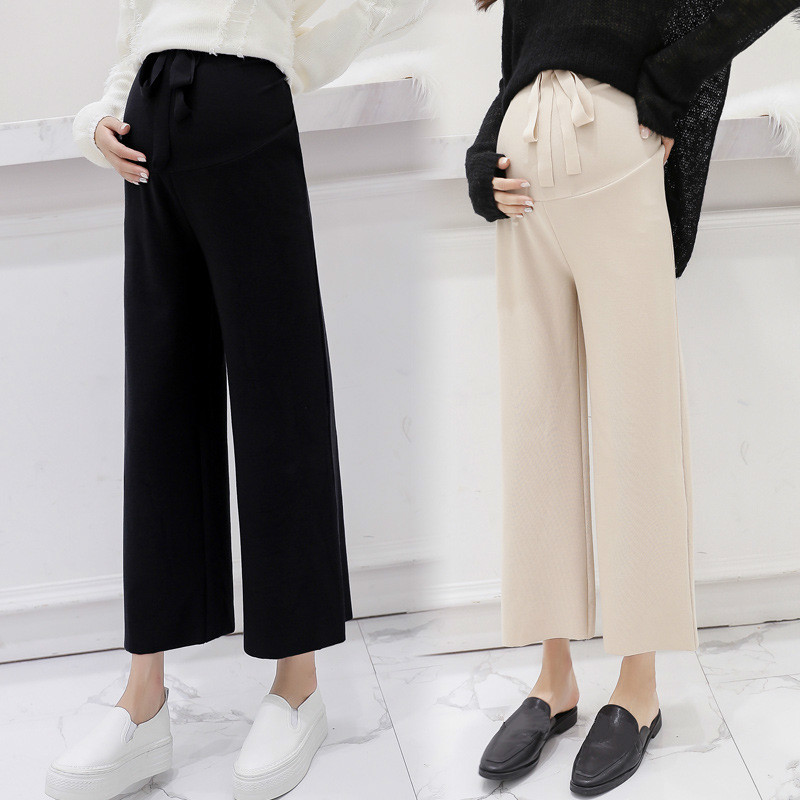 SHENGPALAE Maternity Clothings 2019 Women Pregnancy   Wide     Leg     Pants   Casual Loose Trousers Plus Size Bow Pregnant Bottoms FL819