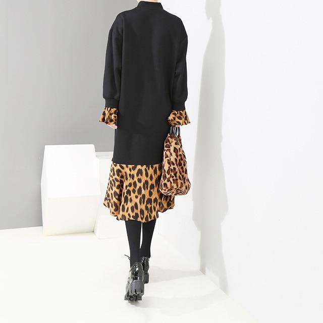 [EAM] 2019 New Spring  Winter High Collar Long Sleeve Leopard Printed Loose Ruffles Hem Big Size Dress Women Fashion Tide JK835 3