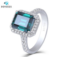 DovEggs 14K White Gold 585 8*10mm Emerald Gemstone Moissanite Halo Engagement Ring with Accents for Women Free Shipping