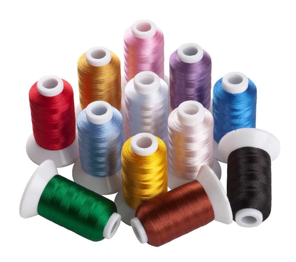 12 Brother Colors Polyester Embroidery Machine Spools Thread + Gold and Silver Colors Metallic Embroidery Thread, 500M Each