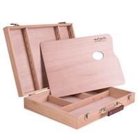 Wooden Portable Oil Painting Box Sketchpad Easel Sketch Drawing Board Painting Toolbox Painting Storage Box for Artist Supplies