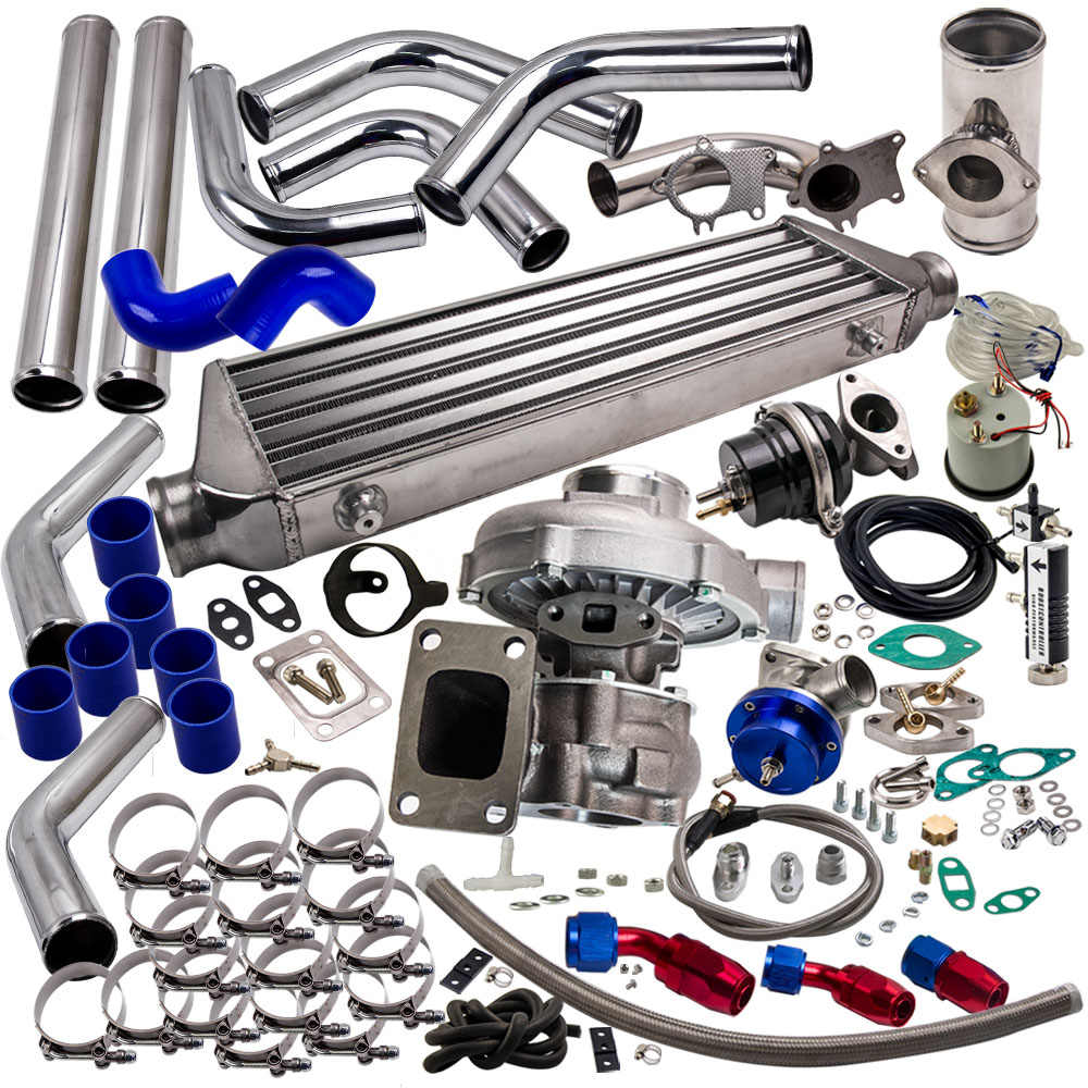 UNIVERSAL T3/T4 T3 T4 T04E TURBO KIT +INTERCOOLER+WASTEGATE+BOV+BOOST  GAUGE+ TURBO OIL LINE