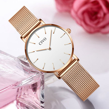 CIVO Fashion Luxury Women Watches Ladies Watch Ultra Thin Waterproof Steel Mesh Strap Quartz Watch Women Clock Relogio Feminino dom women watches dom brand luxury new casual waterproof leather dress quartz watch mesh strap clock relogio faminino g 36gk 1ms