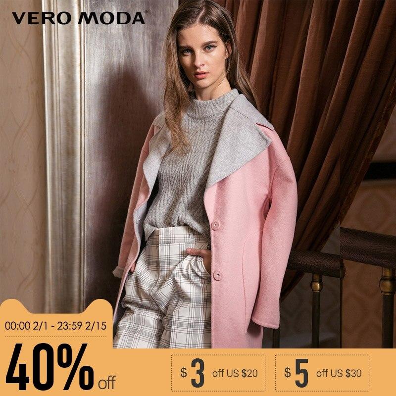 Vero Moda бренд большой отворот плеча рукав профиль дизайн шерстяное пальто женщина | 315427001