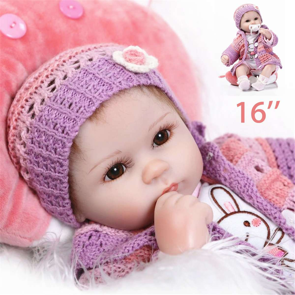 16 Soft Silicone Reborn Doll Toys with Cloth Lifelike 40cm Vinyl Reborn Play House Bedtime Toy Birthday Christmas Gift for Girl16 Soft Silicone Reborn Doll Toys with Cloth Lifelike 40cm Vinyl Reborn Play House Bedtime Toy Birthday Christmas Gift for Girl