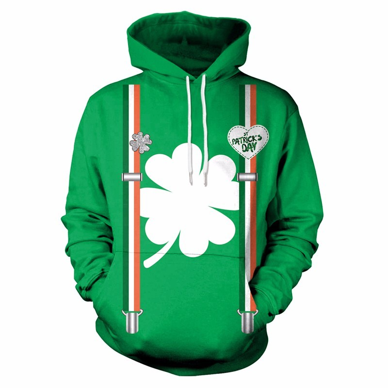 Men Women 3D Printing Hoodies Sweatshirt St.Patrick's Day Green Four-leaf clover Couple Hoodie Clothing