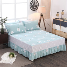 100% Cotton Bed Skirt Floral Fitted Sheet Cover Bedspread Lace Fitted Sheet Bedroom Bed Cover Skirt bedding sets(China)