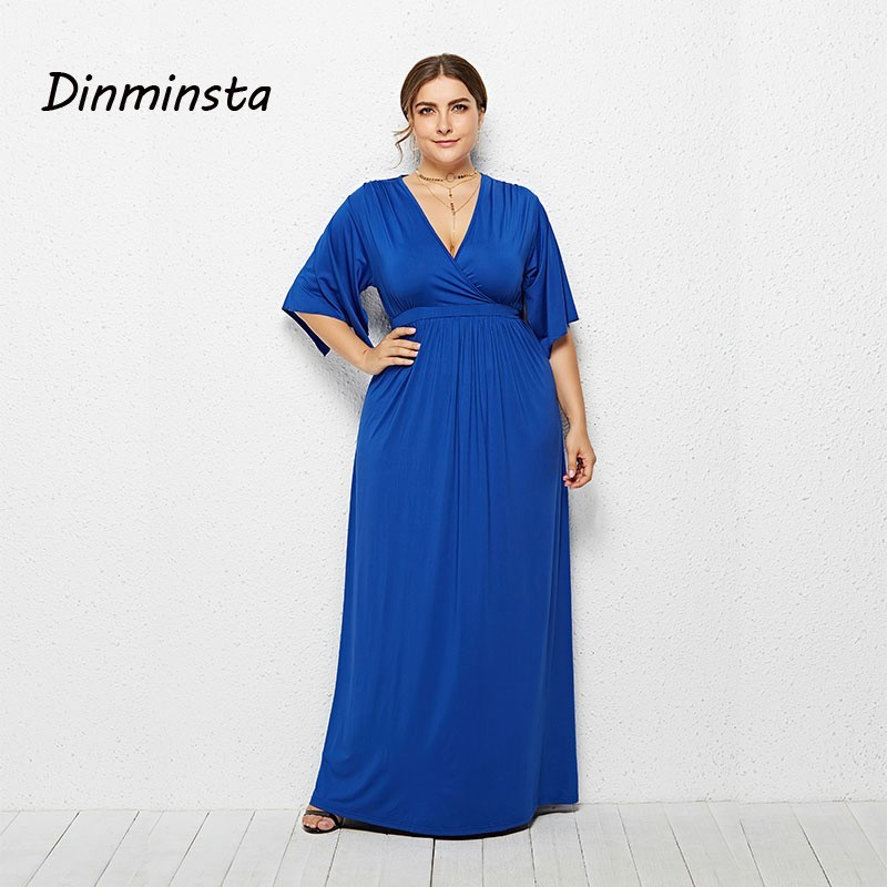 3f71cbaaadfa2 US $32.99 |Dinminsta Female Plus Size Long Frock Design Sexy V Neck Blue  Party Maxi Dress For Women 2019 Spring Ruffle Sleeve Loose Dresses-in  Dresses ...